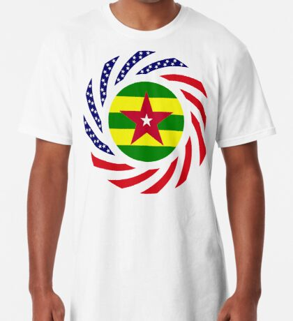 Togolese American Multinational Patriot Flag Series Long T-Shirt