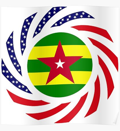 Togolese American Multinational Patriot Flag Series Poster