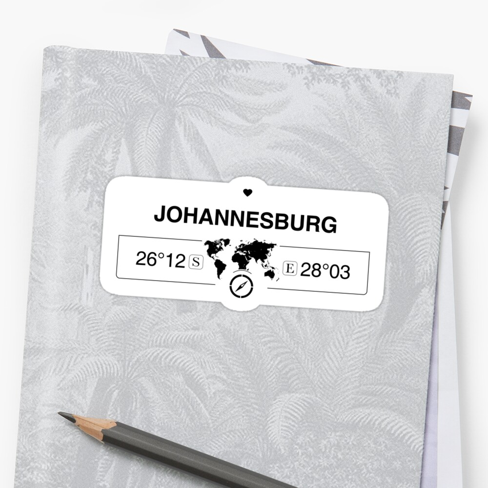 Johannesburg Gauteng with World Map GPS Coordinates and Compass   by Map-Your-World