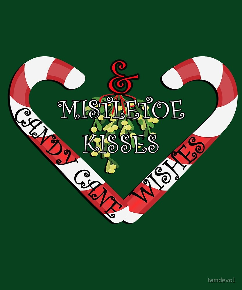 Christmas Print, CANDY CANE WISHES & MISTLETOE KISSES, Gift Products by tamdevo1