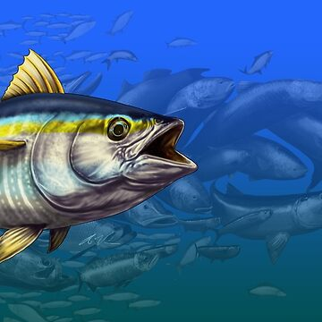 Yellowfin Tuna Many Fish Background by wrapgraphics