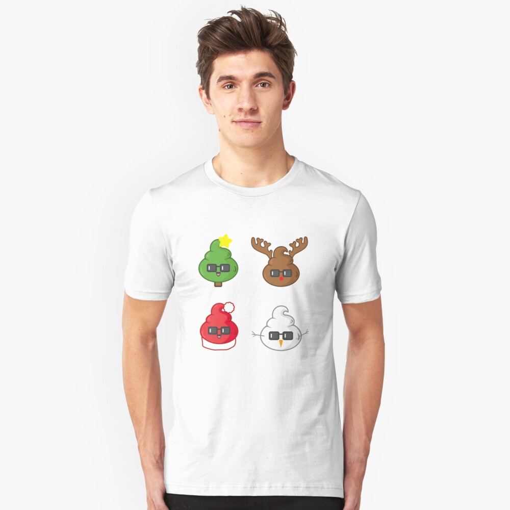 Christmas Poop Emoji Faces Unisex T-Shirt Front