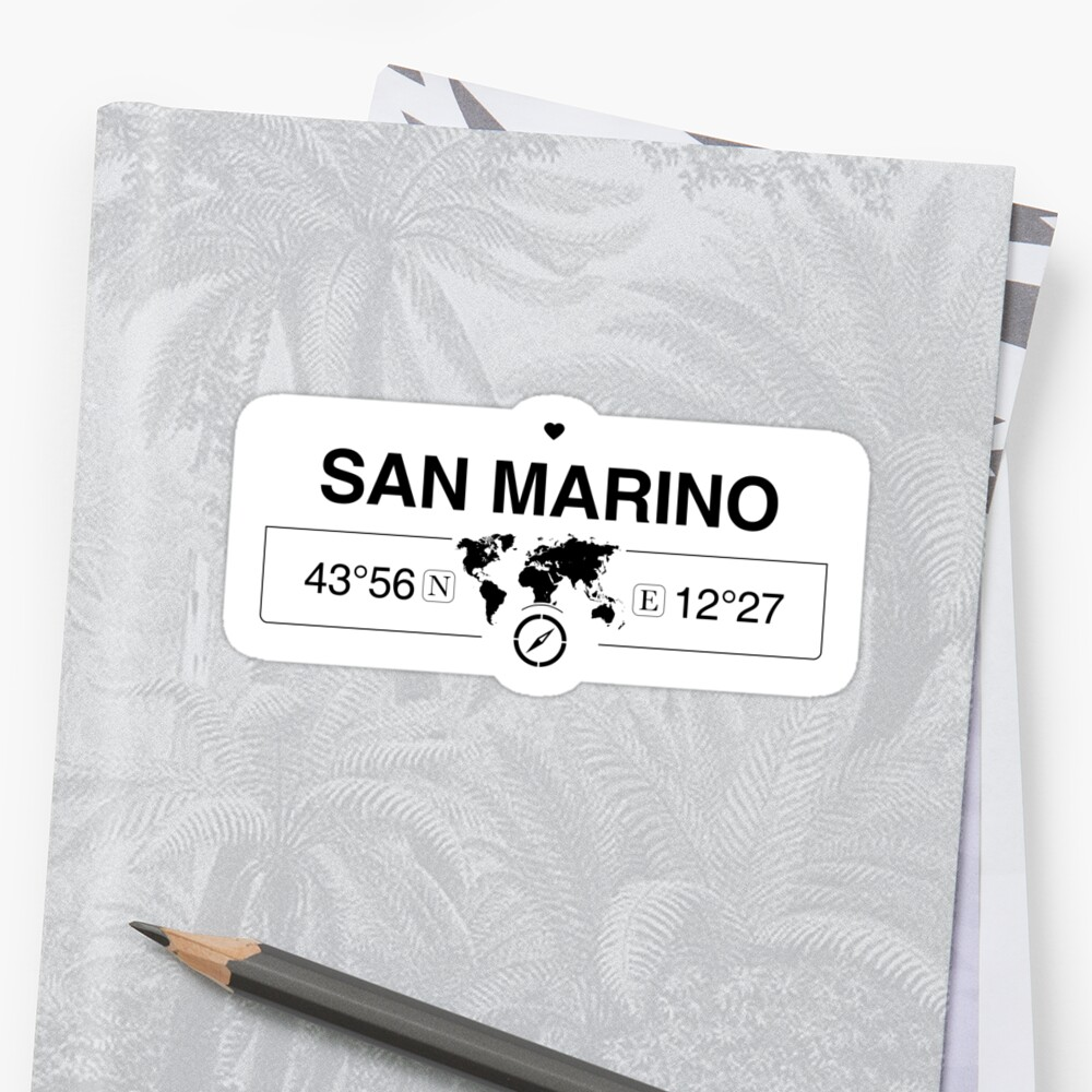 San Marino with World Map GPS Coordinates and Compass    by Map-Your-World