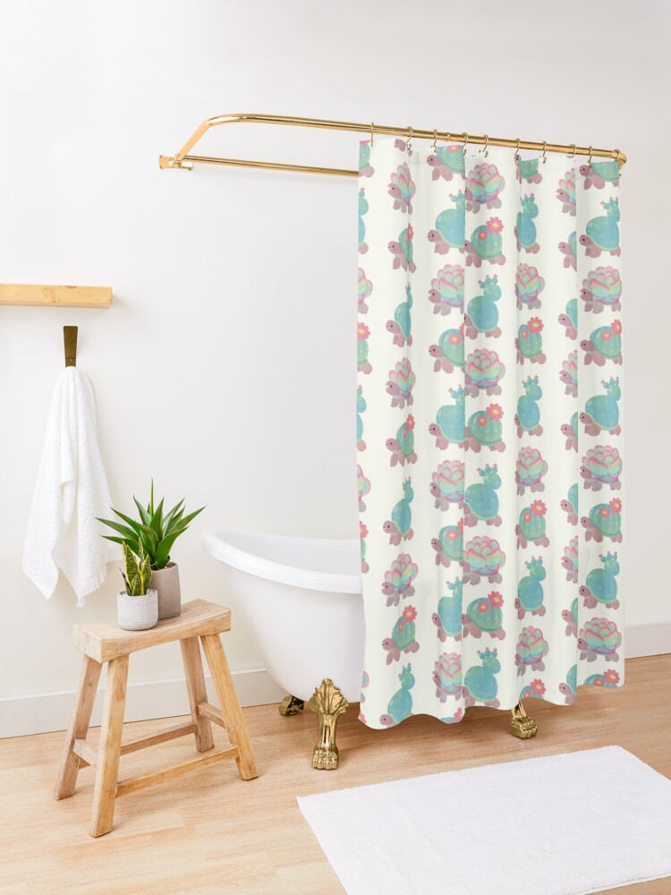 Alternate view of Cactus tortoise Shower Curtain