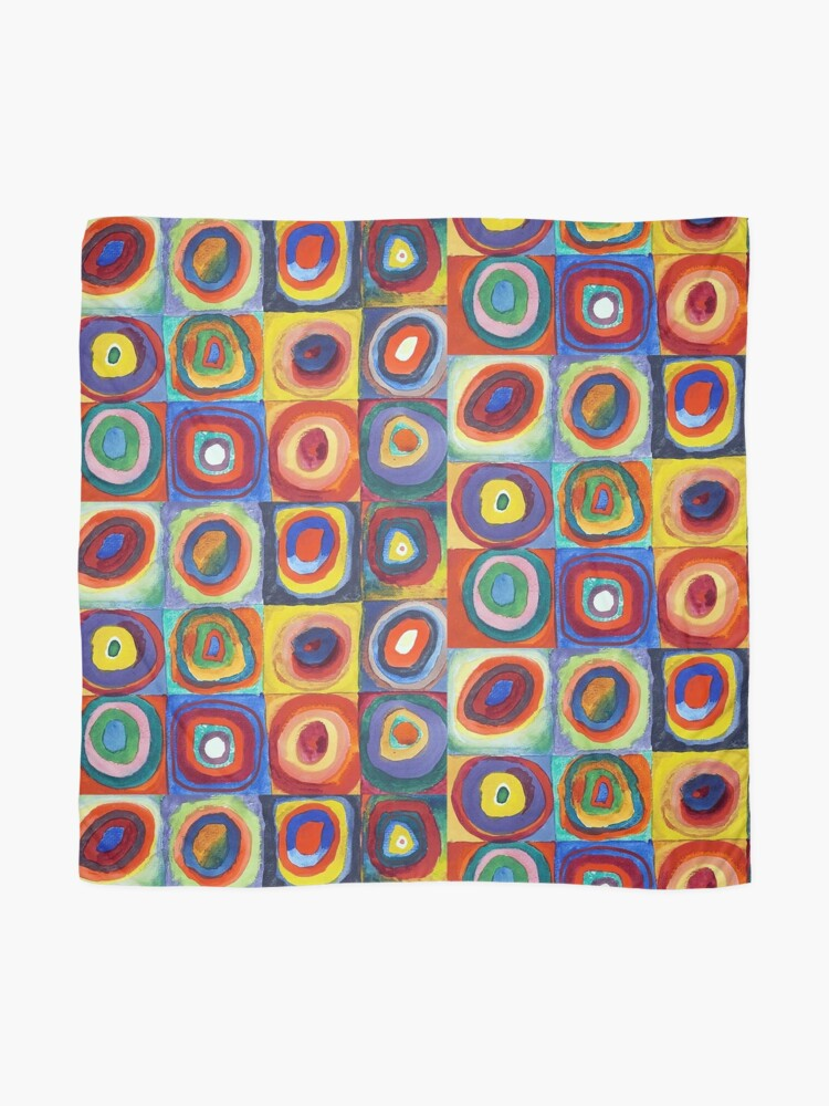 Alternate view of Wassily Kandinsky - Color Study, Squares with Concentric Circles - Bauhaus Art Scarf