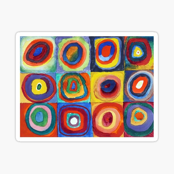 Wassily Kandinsky - Color Study, Squares with Concentric Circles - Bauhaus Art Sticker