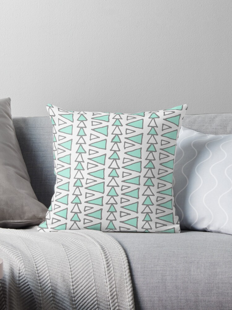 Light Turquoise Dark Grey White Triangles Pattern by dreamingmind