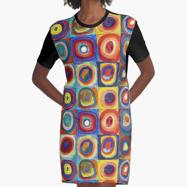 Wassily Kandinsky - Color Study, Squares with Concentric Circles - Bauhaus Art Graphic T-Shirt Dress