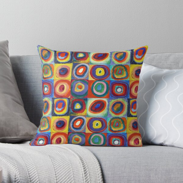 Wassily Kandinsky - Color Study, Squares with Concentric Circles - Bauhaus Art Throw Pillow