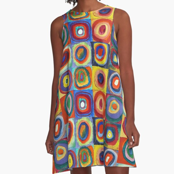 Wassily Kandinsky - Color Study, Squares with Concentric Circles - Bauhaus Art A-Line Dress