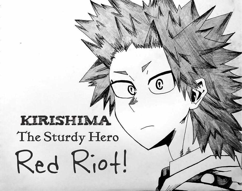 """The Sturdy Hero-Red Riot"" Kirishima My Hero Academia by Dellamoore"