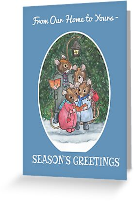 Christmas Cute Mouse Family Carol-Singers Season's Greetings by Judy Adamson