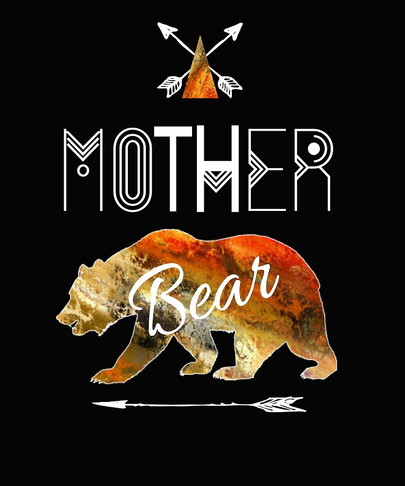 Mother Bear Textured Brown Tribal Family Vacation & Camping Gift by kimmicsts