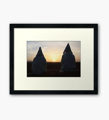 Djellaba sunrise (Sahara desert, Morocco) Framed Print