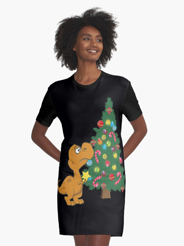 16aae3893 Funny Struggle Is Real T Rex Hates Christmas Tree Star Design Graphic  T-Shirt Dress