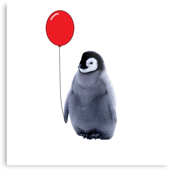 baby penguin with a balloon by VioletJigsaw