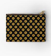 Sunflower- Black Zipper Pouch