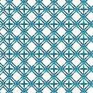 Teal Blue Tile Pattern by blueskywhimsy