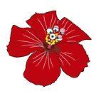 «FLOR DE HIBISCOS ROJA CON OJOS» de malangacamisetas