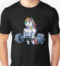 Einhorn Gewichtheben T-shirt Fitness Gym Deadlift Regenbogen Geschenke Party Männer Frauen Slim Fit T-Shirt