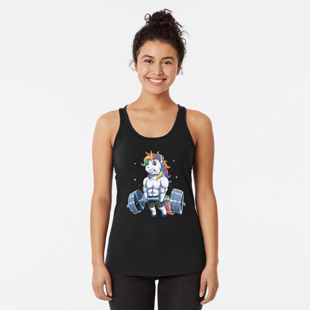 Unicorn Weightlifting T shirt Fitness Gym Deadlift Rainbow Gifts Party Men Women Racerback Tank Top