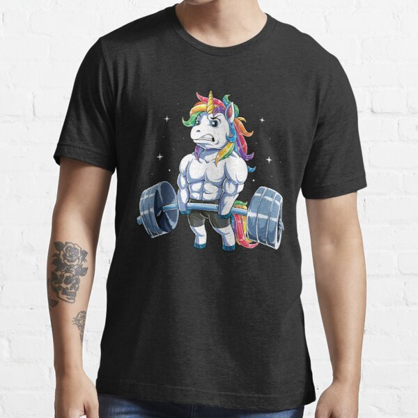 Unicorn Weightlifting T shirt Fitness Gym Deadlift Rainbow Gifts Party Men Women Essential T-Shirt