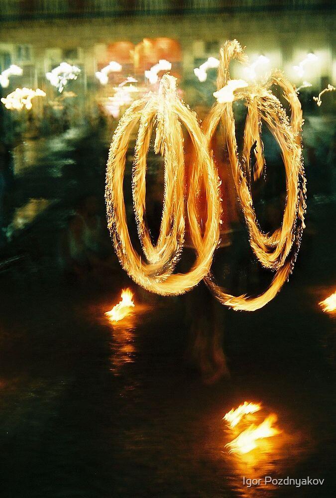 Madrid, Firedancer at Plaza Mayor 2004 by Igor Pozdnyakov