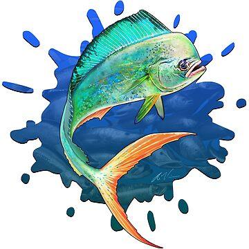 Mahi Mahi Many Fish Background by wrapgraphics