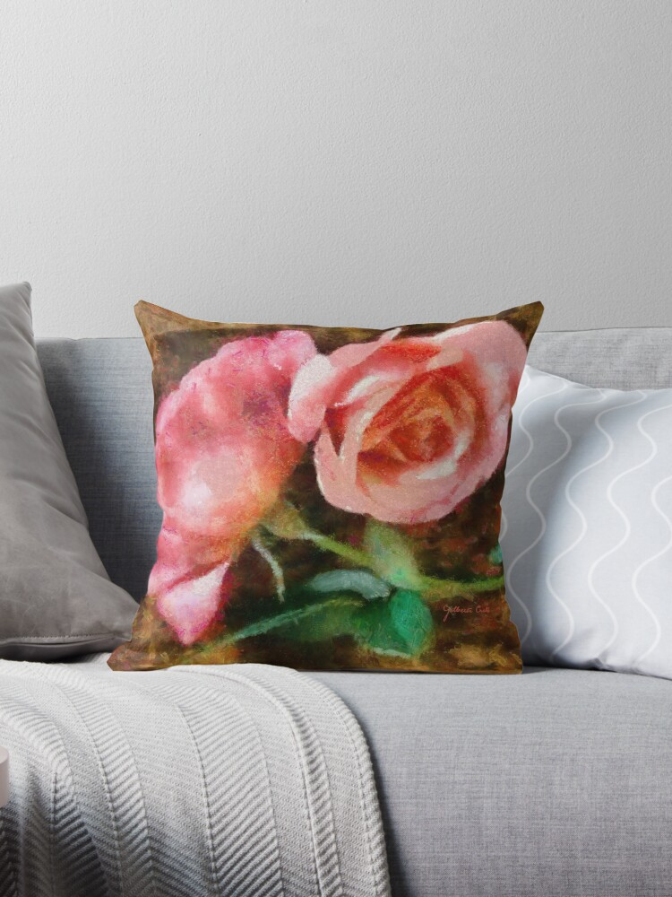 Pink Roses painted in Monet style by Gilberte