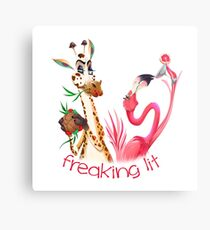 Party Time Freaking Lit Giraffe and Flamingo  Metal Print