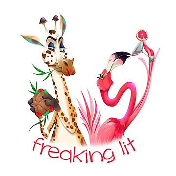 Party Time Freaking Lit Giraffe and Flamingo  by IconicTee