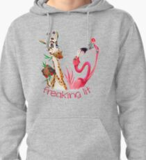 Party Time Freaking Lit Giraffe and Flamingo  Pullover Hoodie