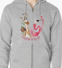 Party Time Freaking Lit Giraffe and Flamingo  Zipped Hoodie