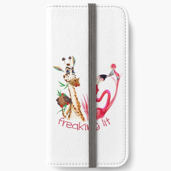 Party Time Freaking Lit Giraffe and Flamingo  iPhone Wallet