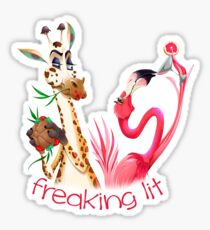 Party Time Freaking Lit Giraffe and Flamingo  Sticker