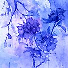 flowers and branch in blue by clemfloral