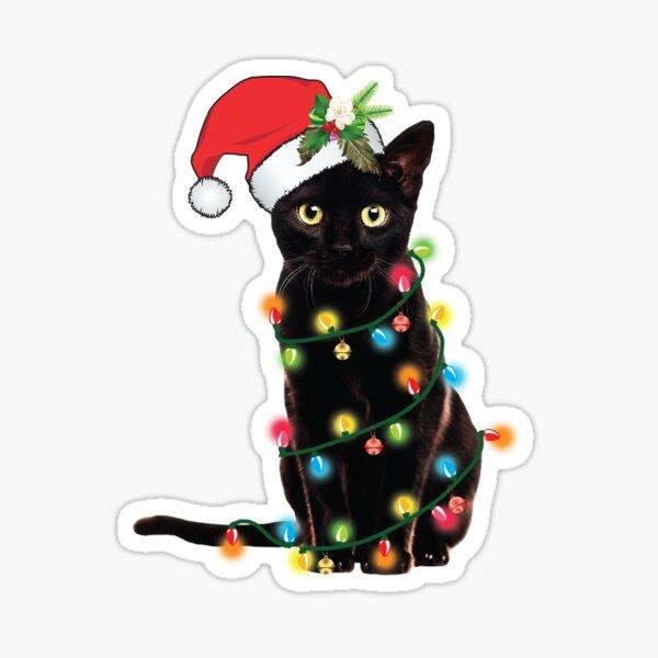 Black Santa Cat Tangled Up In Lights Christmas Santa Illustration Sticker
