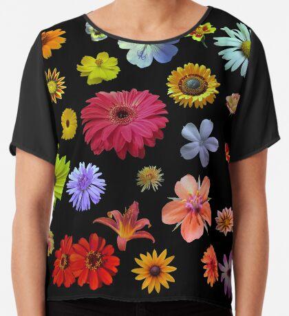 buntes Blumenmeer Chiffontop für Frauen