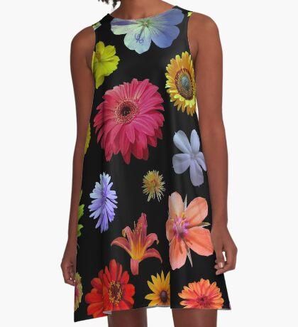 buntes Blumenmeer A-Linien Kleid