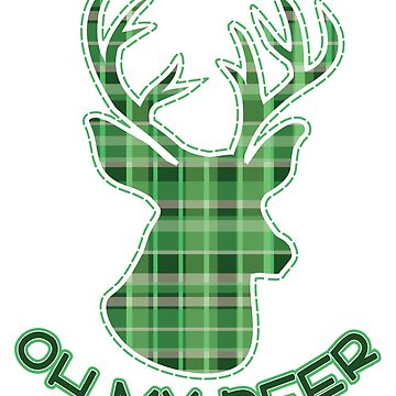 Cute Oh My Deer Green Plaid Christmas Holiday T-Shirt by tronictees