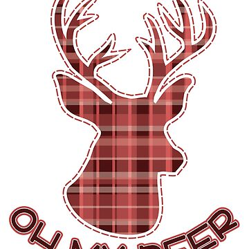 Cute Oh My Deer Red Plaid Christmas Holiday T-Shirt by tronictees