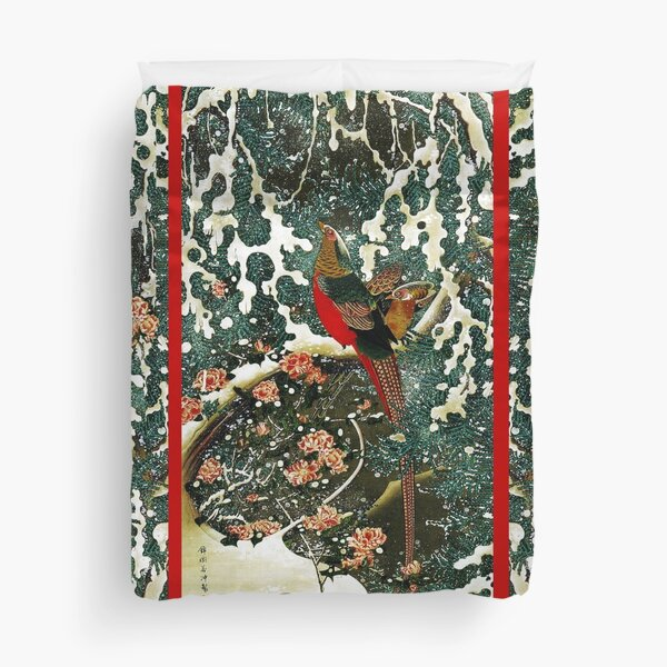 Pheasants in the Snow with Pine Tree and Roses  Duvet Cover