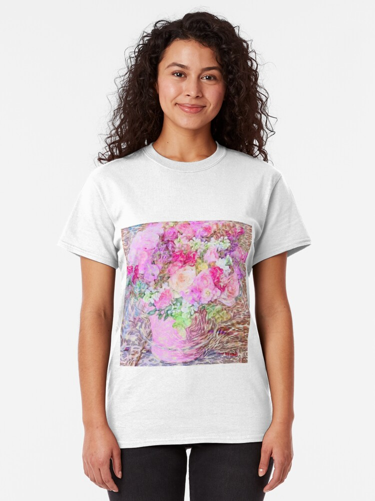 Alternate view of shabby chic painted, peonies, roses,shabby chic, painted, roses, floral,flowers,vintage,victorian,belle epoque,girly,soft,feminine,modern,trendy Classic T-Shirt