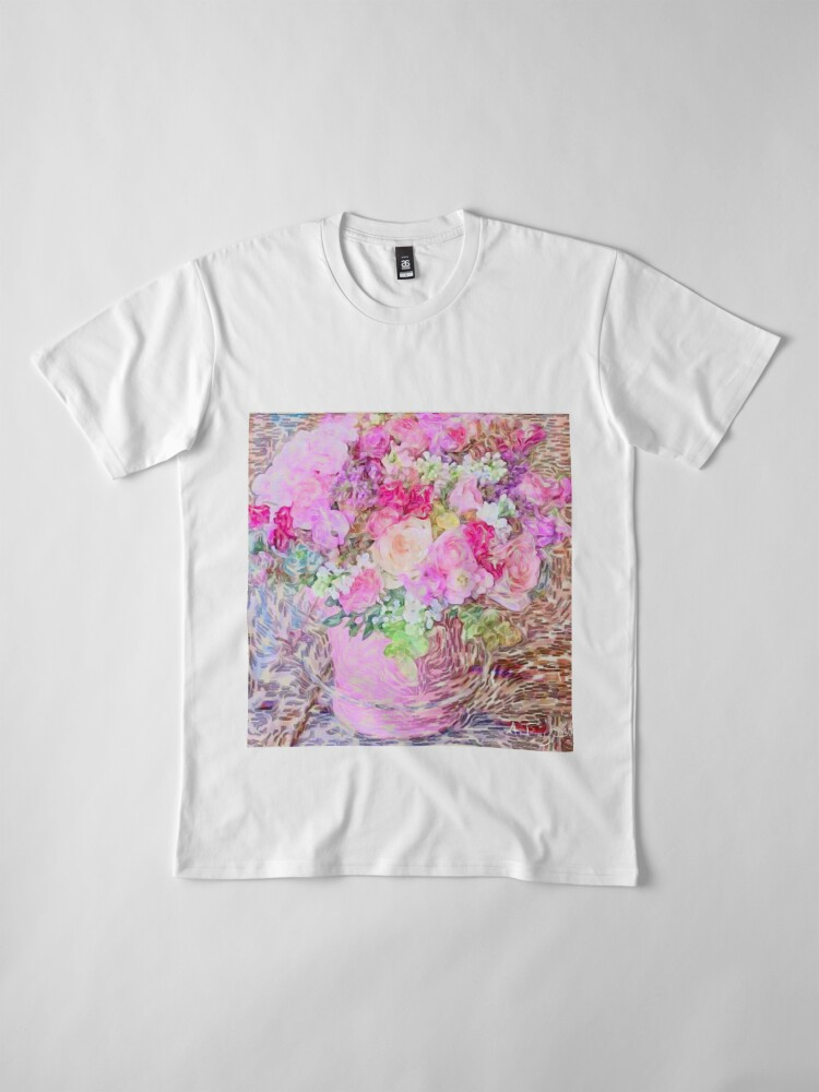 Alternate view of shabby chic painted, peonies, roses,shabby chic, painted, roses, floral,flowers,vintage,victorian,belle epoque,girly,soft,feminine,modern,trendy Premium T-Shirt