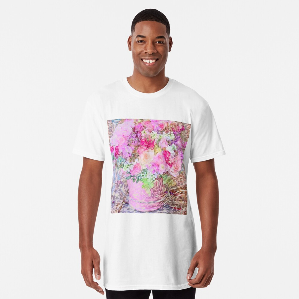 shabby chic painted, peonies, roses,shabby chic, painted, roses, floral,flowers,vintage,victorian,belle epoque,girly,soft,feminine,modern,trendy Long T-Shirt
