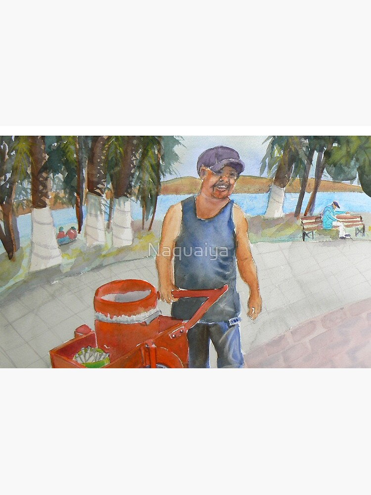 Selling ice cream in Mexico by the Lake Watercolor by Naquaiya