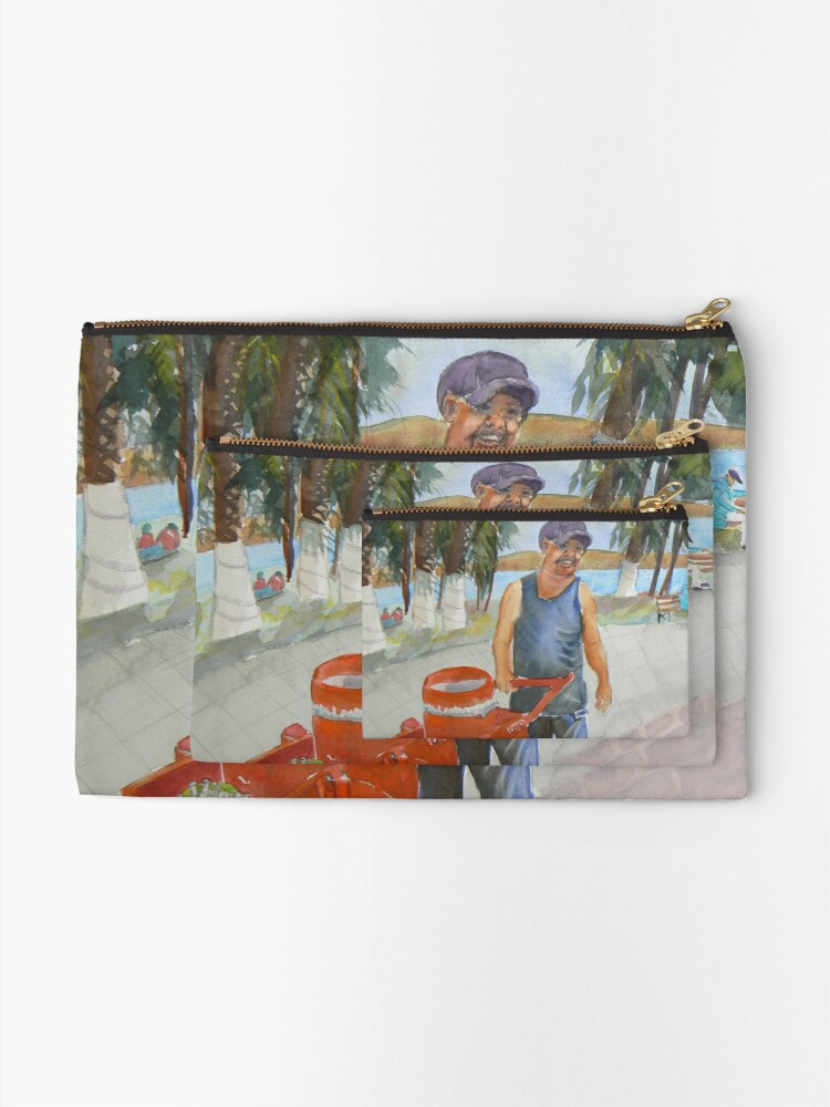 Alternate view of Selling ice cream in Mexico by the Lake Watercolor Zipper Pouch