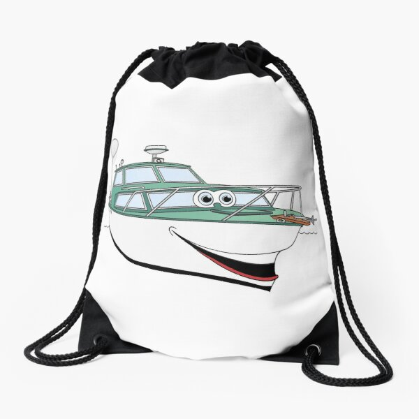 Green Motor Boat II Cartoon Drawstring Bag