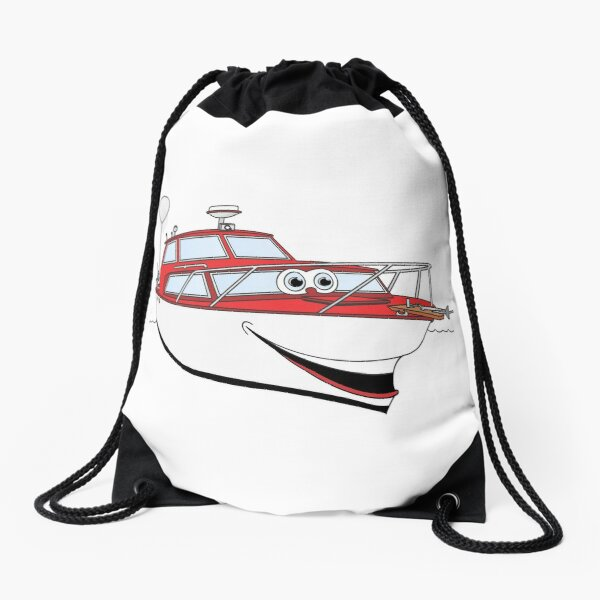 Red Motor Boat II Cartoon Drawstring Bag