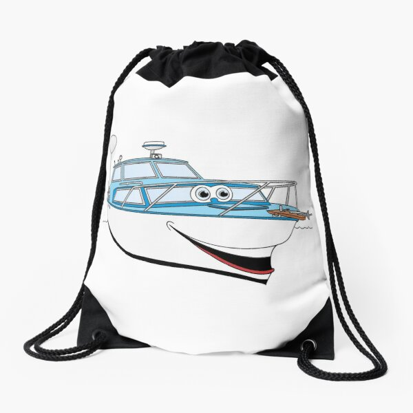 Blue Motor Boat Cartoon Drawstring Bag